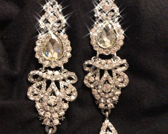 Clear Crystal Dangle Baroque Chandelier Earrings