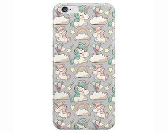 Unicorn Rainbow Cute Grey Phone Case Cover for Apple iPhone 5 6 6s 7 8 Plus & Samsung Galaxy Customized Monogram