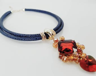Ocean Sunset Necklace - Crystal Heart Pendant - Summer Style