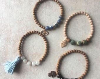 Sacred Sandalwood and Gemstone Bracelets