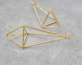 Skyi Gold earrings, filigree earrings yellow gold, 16K gilded earrings, minimalist earrings, diamond shape dangle earrings