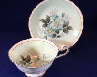 Vintage Paragon Fine Bone China tea cup and saucer blue and green floral pattern