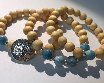 Beaded Bracelet Set-3 with Sand Dollar Charm