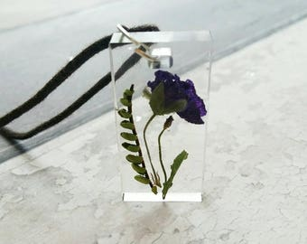 Real flower jewellery, resin pendant, boho cord necklace, gifts for sister, purple flower accessories, festival wear, jewelry for her