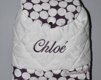 Bag has plum polka dot kids custom embroidered