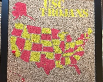 USC Trojans College Travel Cork Map USA Dorm