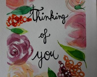 """Carte """"Thinking of you"""" aquarelle, unique et originale"""