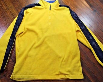 Vintage 90s Nautica Competition 1/4 Zip Pullover Fleece Jacket Spell Out Nautech Mens XL Yellow