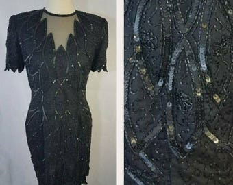 Black beaded and sequined vintage dress