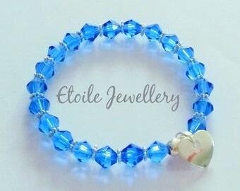Girls Bracelet, Blue Bracelet, Silver Heart Bracelet, Childrens Bracelets, Cobalt Blue Bracelet, Glass Bead Bracelet, stretch bracelet