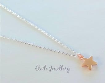 Rose Gold Star Necklace, Silver Chain, Rose Gold Star Pendant, Rose Gold Necklace, Star Necklace, Rose Gold Charm