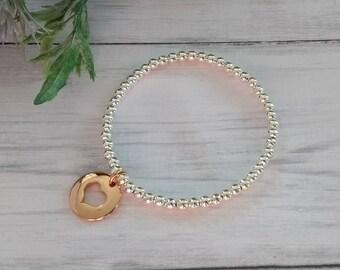 Rose Gold Heart Bracelet, Silver Bead Bracelet, Silver Ball Bracelet, Beaded Bracelets, Heart Charm, Rose Gold Heart Charm, Silver Bracelets