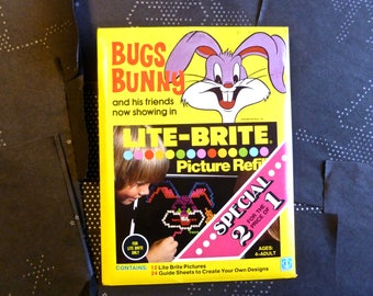Vintage Lite Brite Bugs Bunny Refill Paper Guide Sheets 1978 Complete Set Hasbro Warner Bros.
