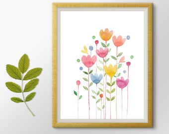 Nursery decor, Flowers Printable art, Flowers Watercolor Painting, Botanical Print, Floral Art, Flowers Print, Nursery wall art, Cute Art
