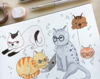 Commission- Your cat in glasses