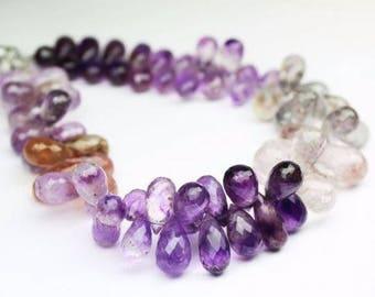 Rutile Amethyst Faceted Briolette Tear Drop Briolette Gemstone Craft Loose Beads Strand 12 pcs 10mm 12mm