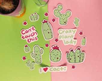 Set of 20 Cacti Stickers, Vinyl Sticker Pack, Succulents, Plant Lady, Planner Accessories, Planner Stickers, Cactus Sticker Pack, Laptop