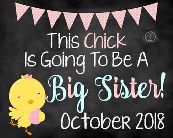 Big Sister Easter Pregnancy Announcement, Big Sister Announcement, Easter Pregnancy Announcement