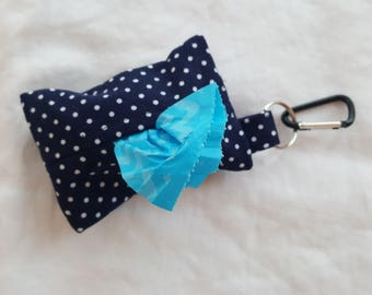 Dog Poop Bag Dispenser - Clip on Style - Navy Blue with White Polka Dots