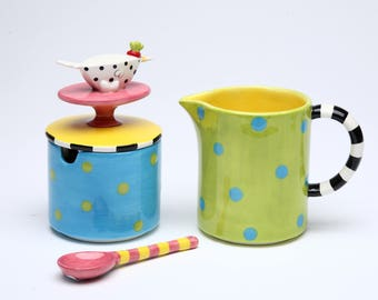 Doted Bird Sugar and Creamer and Spoon (62664)