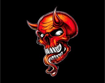 Devil decal, Devil skull decal, Devil skull sticker. Devil car decal, Devill skull laptop sticker, Devil with tongue logo
