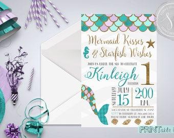 Mermaid Party Invitation, Mermaid First Birthday, Mermaid Invitation