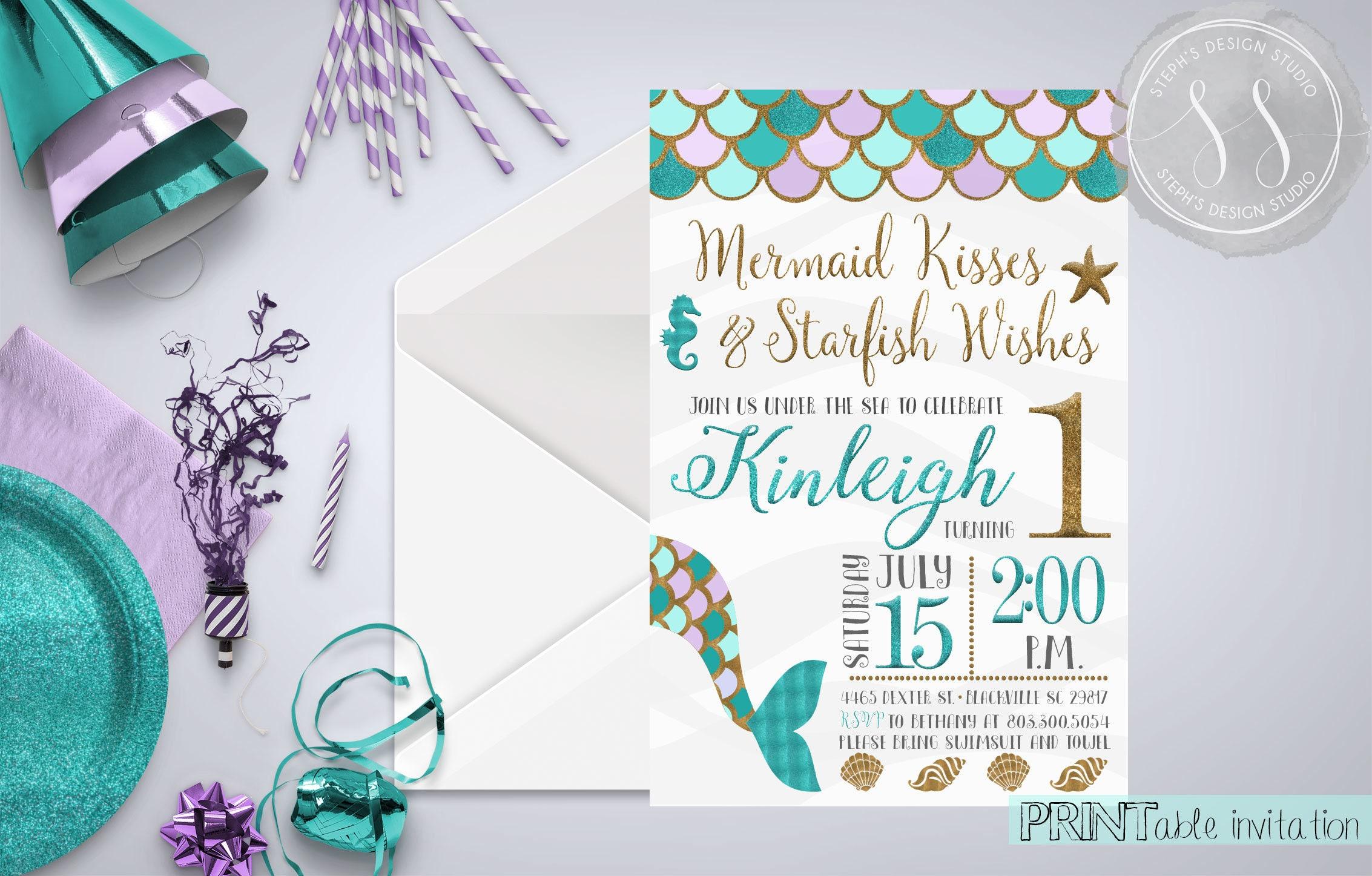 Mermaid Party Invitation, Mermaid First Birthday, Mermaid Invitation ...