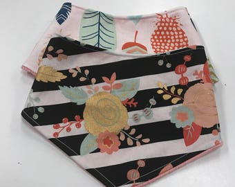 Girls Feathers and Flowers Minky Bandana Bibs 2pack