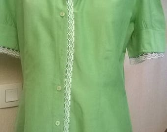 Short sleeves dress in green silk and cotton