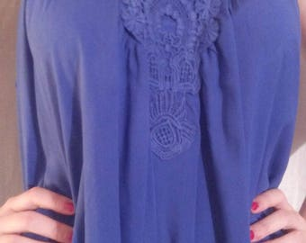 Tank top in blue cotton, viscose and lace color