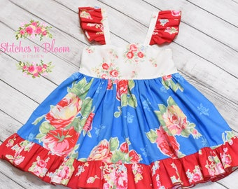 Girl's dress, baby dress, boutique, flutter sleeves, birthday, photo shoots, custom girl's dresses, 4th of July dress