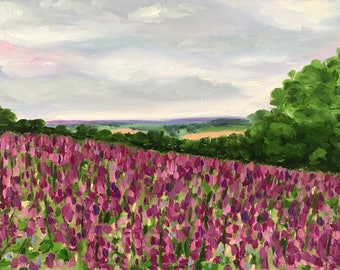 Oil landscape painting of foxglove field; original artwork, floral, pink, purple, wall art