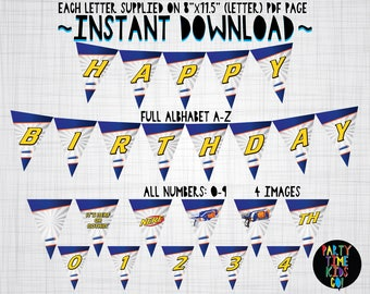 Nerf Bunting Happy Birthday Sign Party Name Full Alphabet A-Z Numbers 0-9 Banner Signs Nerf Decorations Supplies - INSTANT DOWNLOAD