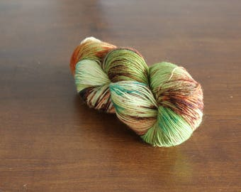 Handdyed yarn, sock yarn, fingering weight, yarn, socksanity, socksanity Artemis, green, brown, beige, aqua