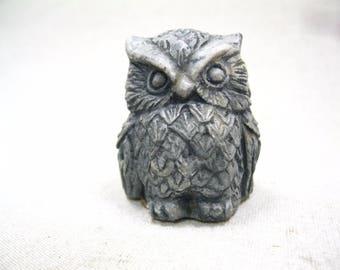 Vintage Owl Sculpture Figurine Hand Sculpted From Mount St. Helen's Volcanic Ash