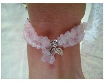 Three-row bracelet with pink quartz