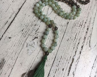 Inner Silence Mala - 108 beads carved Natural Jade and matte Smoky Quartz