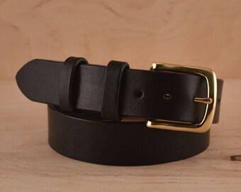 """Men's dress belt Black leather belt with Solid Brass Buckle Black belt Gold buckle Vegetable tanned Full grain belt  1 1/4"""" wide"""