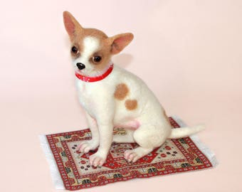Dog. Needle Felted Sculpture. Animal portrait. Collectible toy. Realistic Chihuahua. Pet. Chihuahua