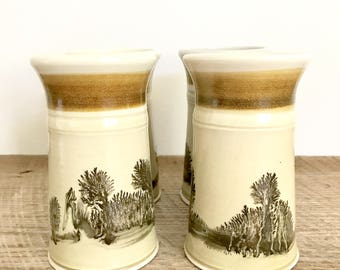 Set of 4 Vintage Glazed Stoneware Cups