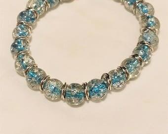 Stunning Blue Ice Aqua Bead - Silver and Blue Bracelet - Blue Bead Bracelet - Stretch Bracelet