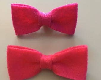 Two felt bows on one size fits most nylon headband OR alligator clip