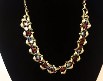 1950s aurora borealis red crystal and gold chain articulated necklace