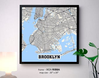 Brooklyn New York Map Print, Brooklyn Square Map Poster, Brooklyn Wall Art, Brooklyn gift, Custom Personalized map