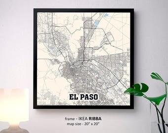 El Paso Texas Map Print, El Paso Square Map Poster, El Paso Wall Art, El Paso gift, Custom Personalized map
