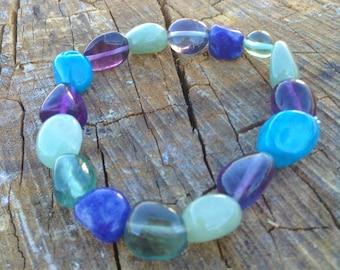 Fluorite, Aventurine, Chrysocolla, and Lapis Lazuli Handmade Healing Crystal Bracelet