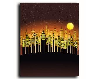 Buildings Print, Skyscrapers Wall Art,  City Print, Architecture, City At Night, City Life Print, Orange, Black, 8x10, Gift, Samari Prints