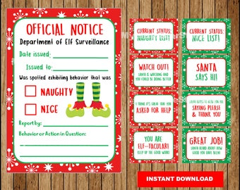Elf Report, Printable Elf Naughty or Nice Notice Letter, Christmas Elf Behavior cards, Elf shelf, Elf letter Instant download
