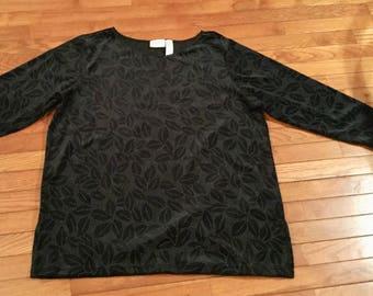 Elisabeth top by Liz Claiborne size 2X Black Velvet Cotton with Studs