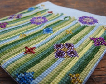 Modern Cross Stitch Kit 'Flower Meadow' Large, Embroidery Kit, Craft Kit, Modern Wall Art, Needlepoint Kit, Cross Stitch Pattern, Gift